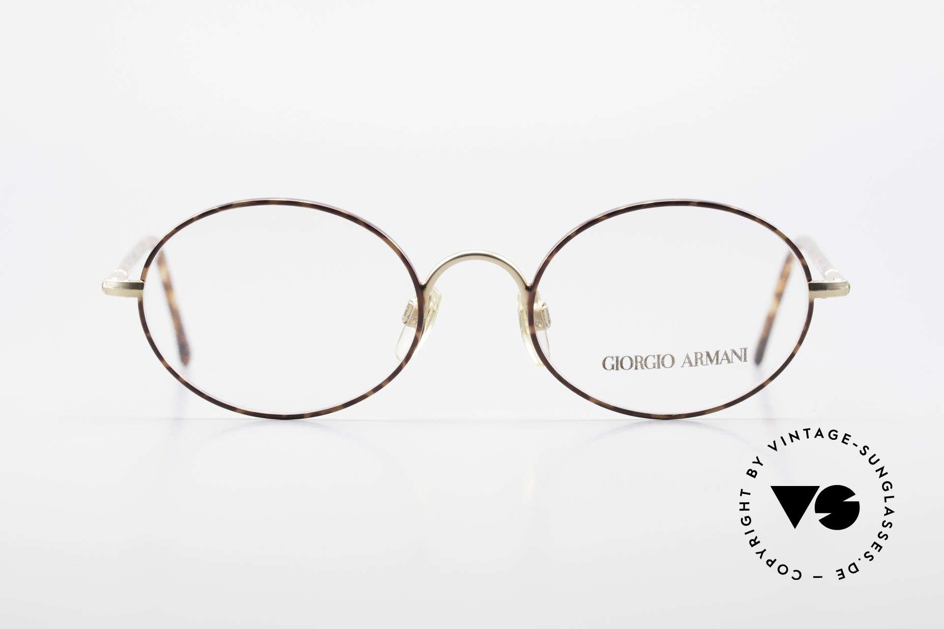 Giorgio Armani 189 Ovale Designerbrille 1990er, fühlbare Top-Qualität mit Federscharnieren, Gr. 50/19, Passend für Herren