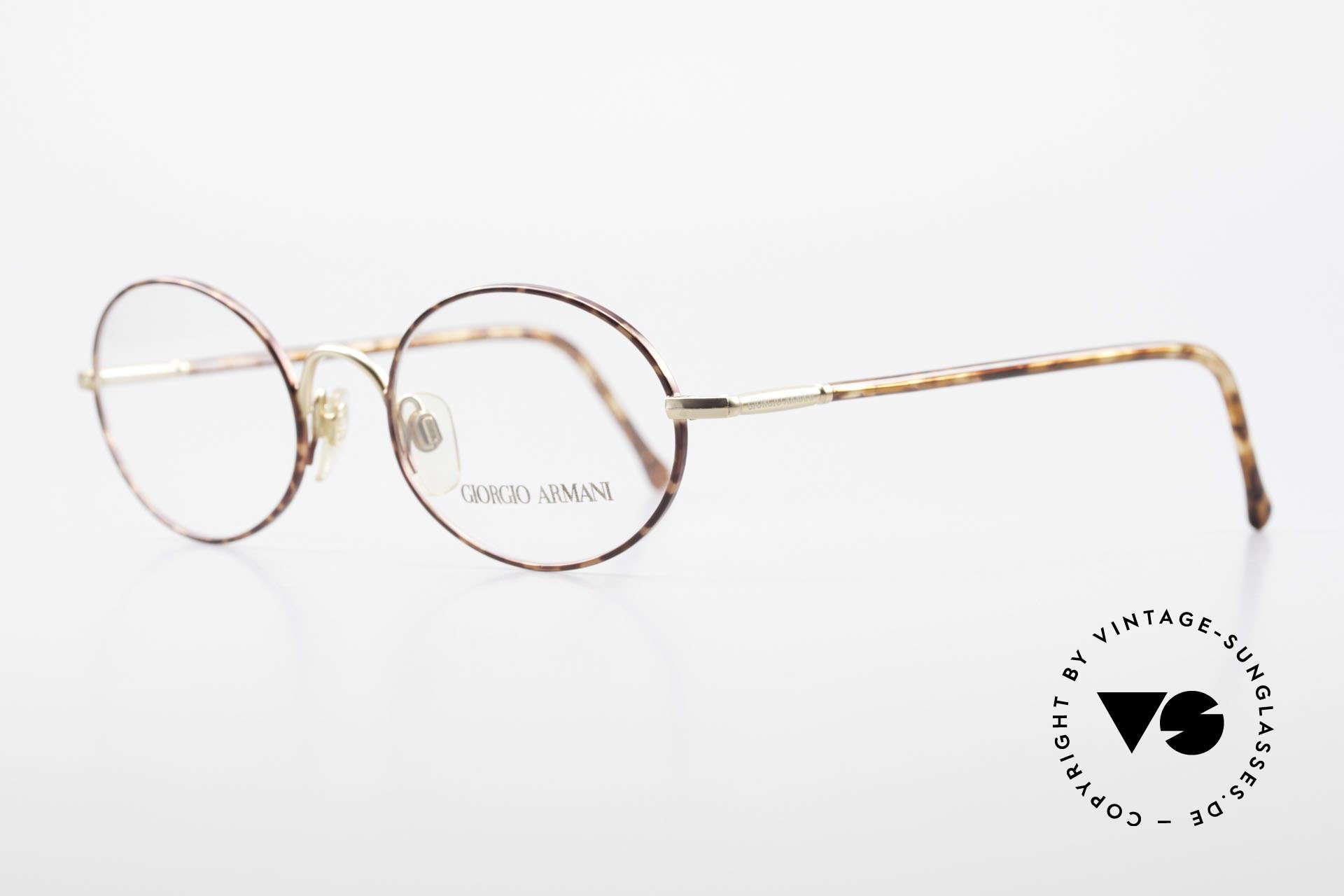 Giorgio Armani 189 Ovale Designerbrille 1990er, elegante Farbkombination aus kastanienbraun & gold, Passend für Herren