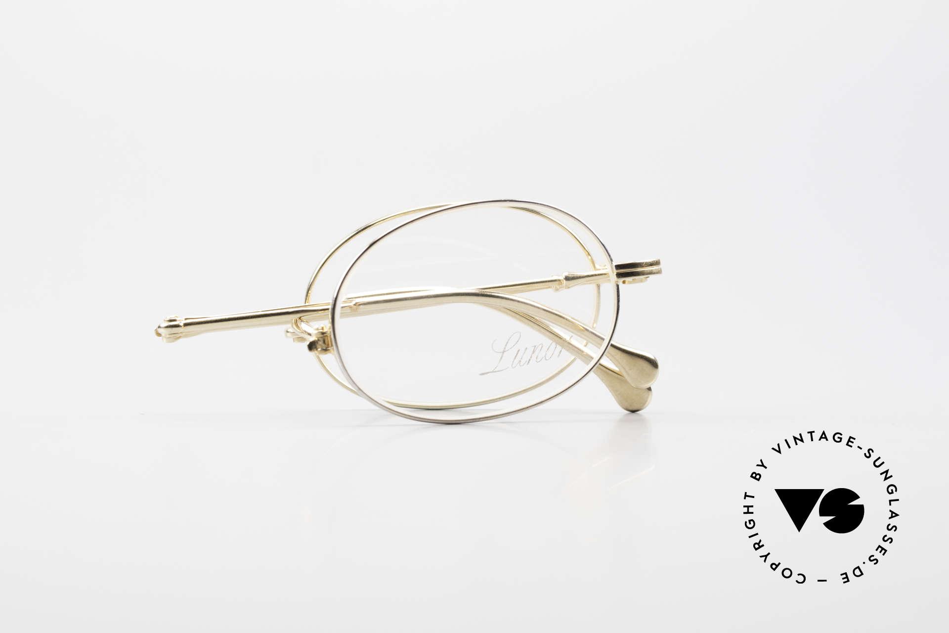 Lunor XXV Folding 04 Ovale Faltbrille Vergoldet, feines, ungetragenes LUNOR Einzelstück (RARITÄT), Passend für Herren und Damen