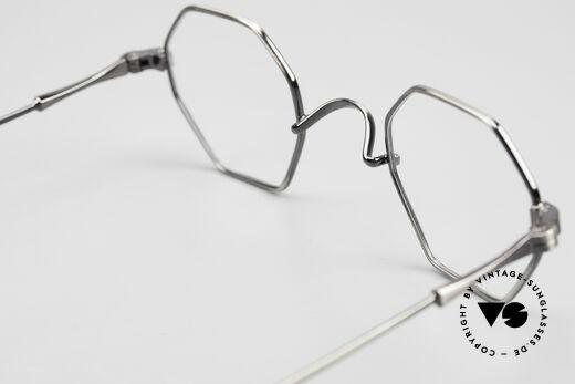 Lunor II 11 Eckige Pantobrille Sehr Klein, markante eckige Panto-Brillenform in ANTIK-Silber, Passend für Herren und Damen