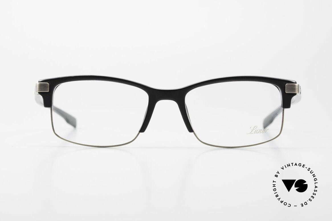 Lunor Combi V Mod 50 Designer Kombibrille Titanium, schwarzer Acetat-Oberrand & Metall aus Titanium, Passend für Herren und Damen
