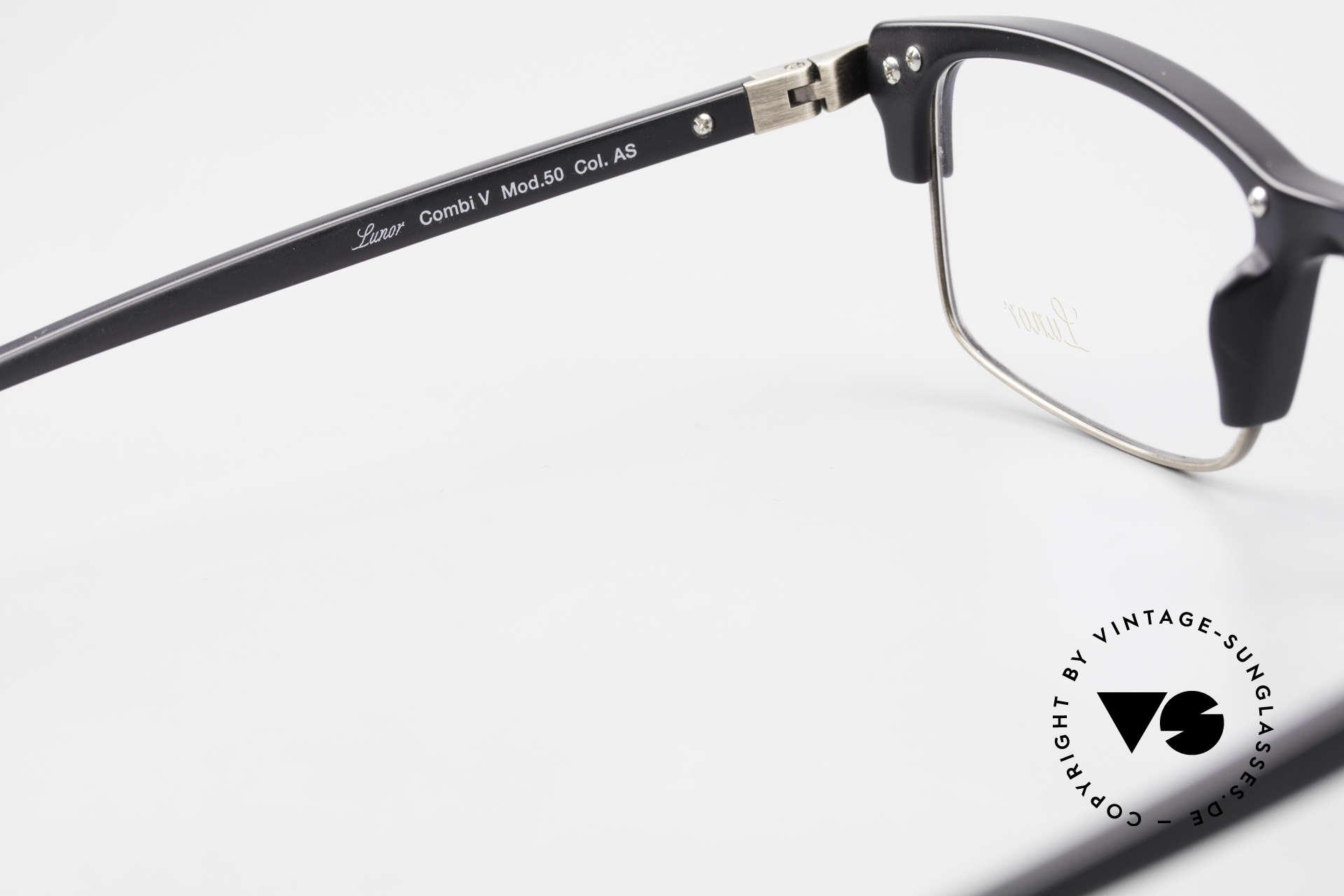 Lunor Combi V Mod 50 Designer Kombibrille Titanium, Fassung in Größe 52/18 kann beliebig verglast werden, Passend für Herren und Damen