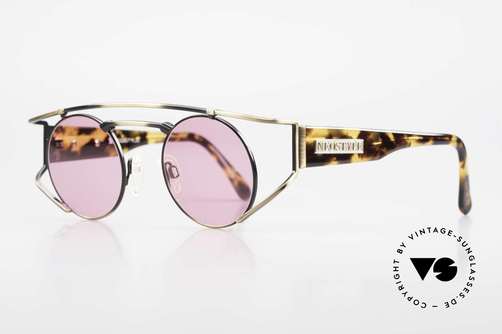 Neostyle Superstar 1 Steampunk Sonnenbrille Pink, gelb-bräunlicher Farbton in einer Art 'camouflage', Passend für Herren und Damen