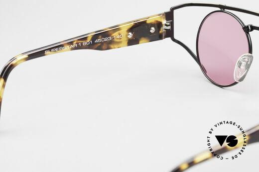 Neostyle Superstar 1 Steampunk Sonnenbrille Pink, ein altes Original mit neuen pinken Sonnengläsern, Passend für Herren und Damen