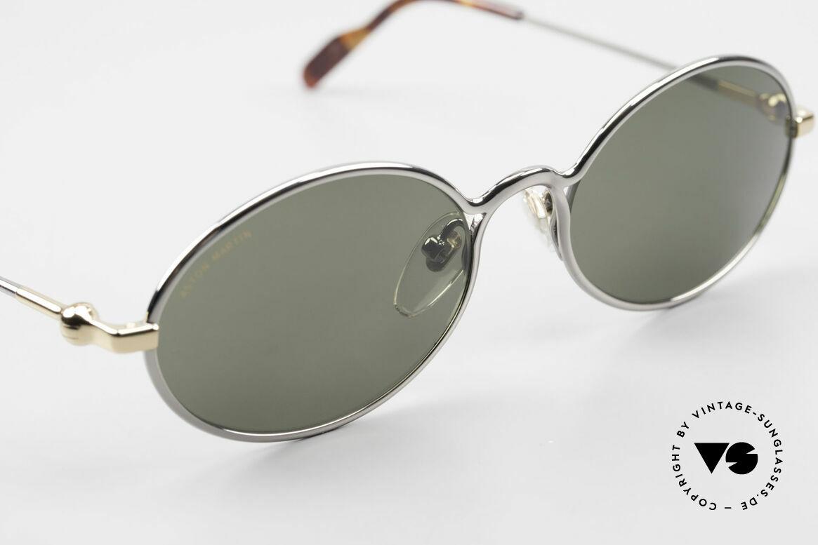 Aston Martin AM13 Ovale Brille James Bond Style, entspiegelte Mineralgläser mit Aston Martin Schriftzug, Passend für Herren