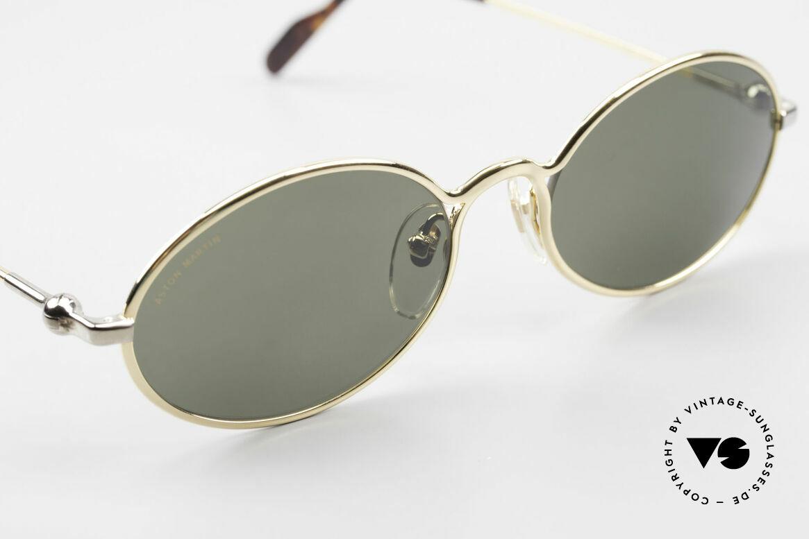 Aston Martin AM13 Ovale Sonnenbrille James Bond, entspiegelte Mineralgläser mit Aston Martin Schriftzug, Passend für Herren