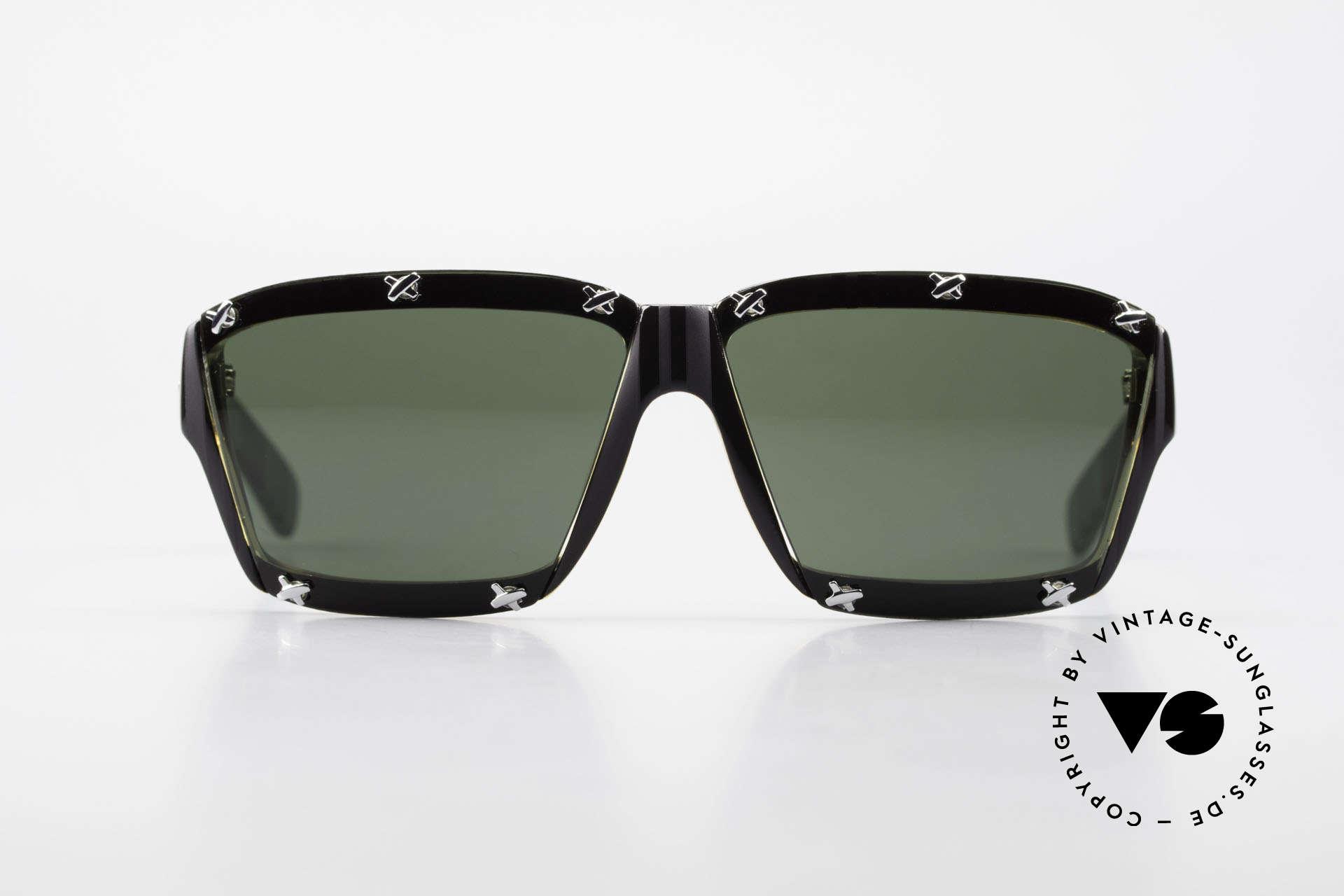 Paloma Picasso 3702 Vintage Sonnenbrille Von 1990, spektakuläre Form mit temperamentvollen Muster, Passend für Damen