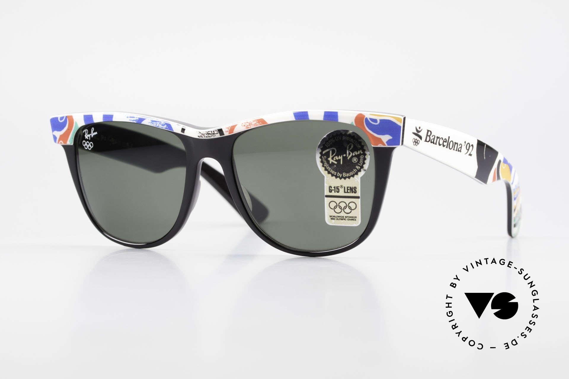 Ray Ban Wayfarer II Olympia Brille 1992 Barcelona, Ray Ban Sonnenbrille zu den Olympische Spielen '92, Passend für Herren und Damen
