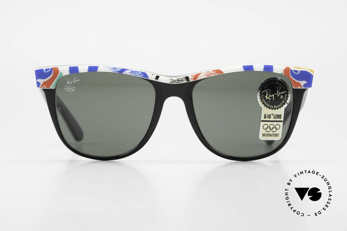 Ray Ban Wayfarer II Olympia Brille 1992 Barcelona, limitierte Ray-Ban USA vintage Wayfarer Sonnenbrille, Passend für Herren und Damen