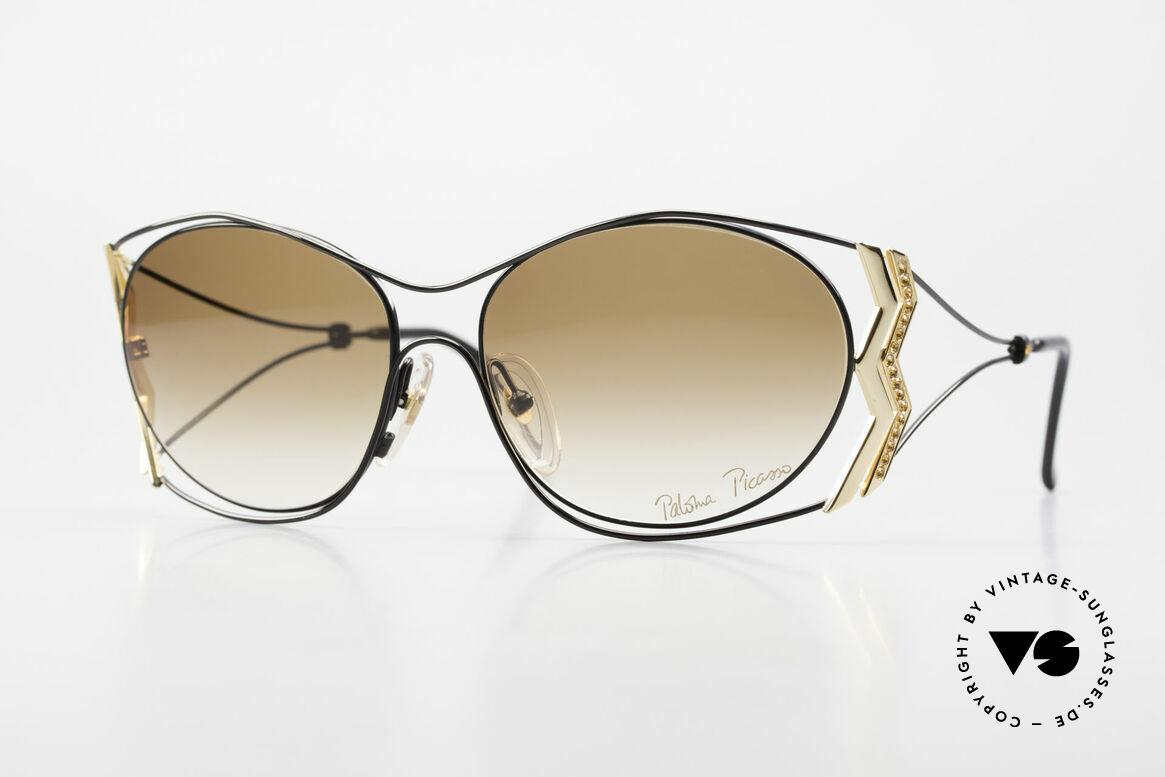 Paloma Picasso 3707 Strass Damensonnenbrille 90er, Picasso vintage Sonnenbrille mit Strass in TOPAZ, Passend für Damen