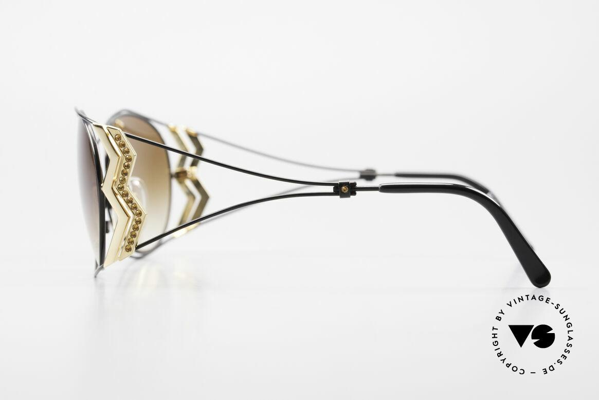 Paloma Picasso 3707 Strass Damensonnenbrille 90er, filigraner Metallrahmen mit vielen Strasssteinchen, Passend für Damen