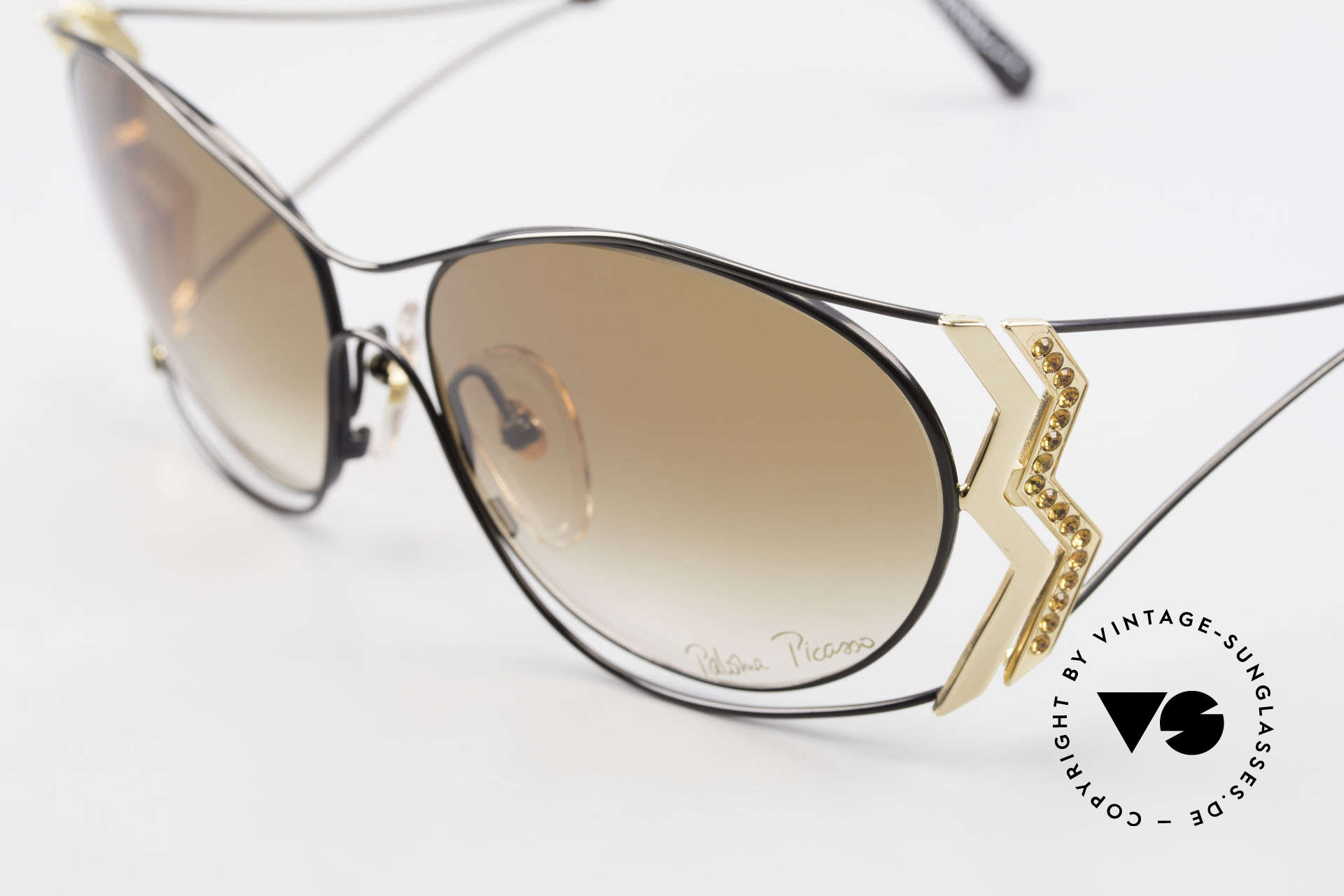 Paloma Picasso 3707 Strass Damensonnenbrille 90er, ungetragenes Modell mit original Etui von Picasso, Passend für Damen