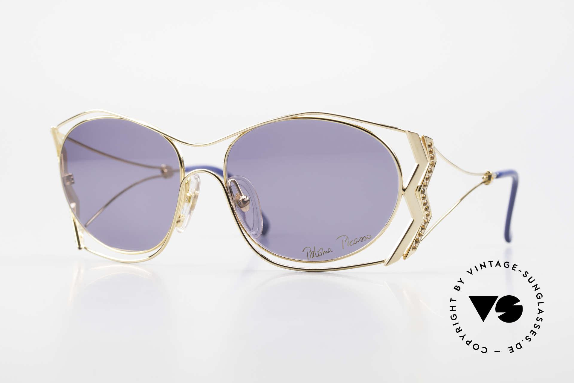Paloma Picasso 3707 90er Sonnenbrille Vergoldet, Picasso 90er Sonnenbrille, vergoldet & Topaz Strass, Passend für Damen