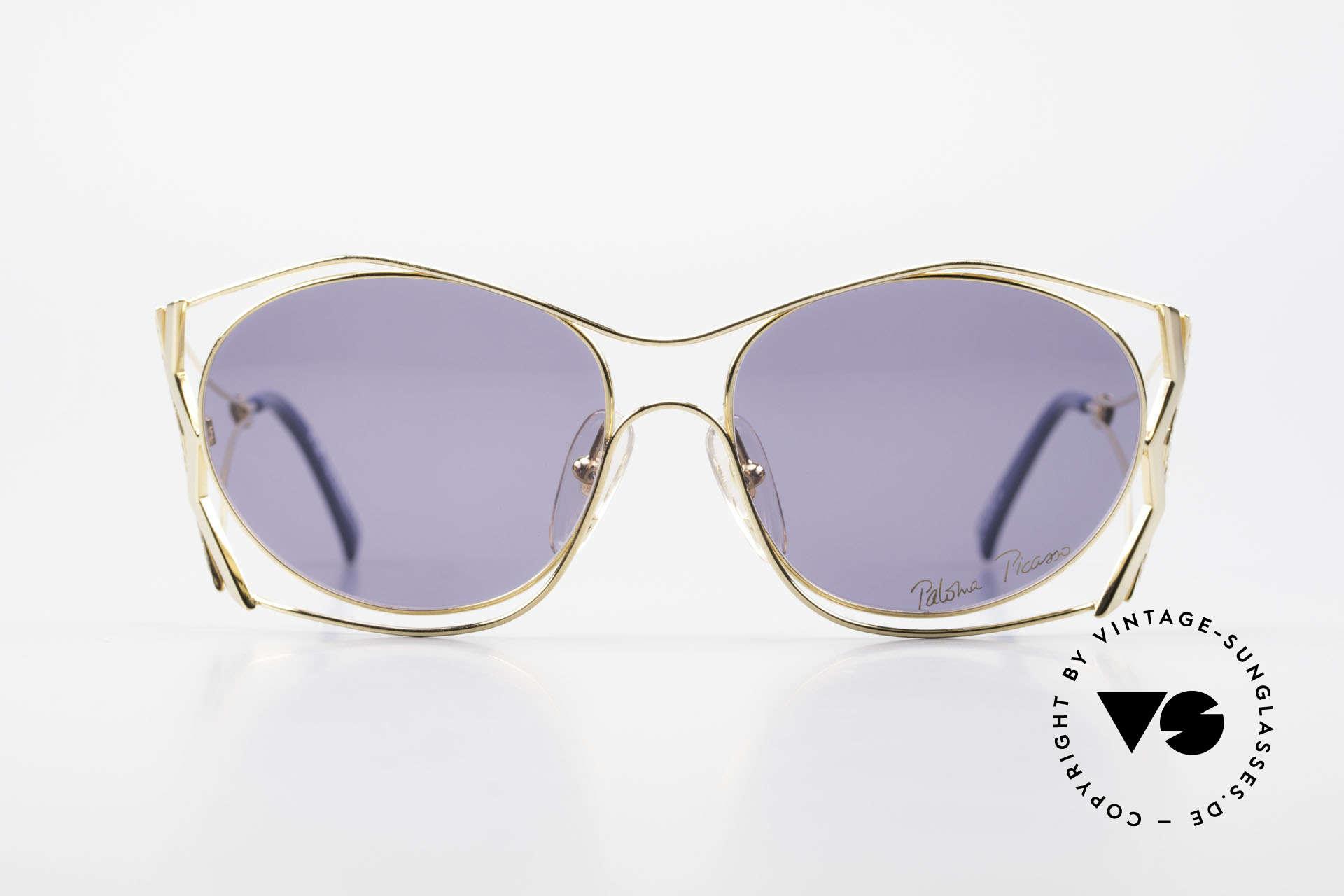 Paloma Picasso 3707 90er Sonnenbrille Vergoldet, verspielt und elegant zugleich; einfach zauberhaft, Passend für Damen