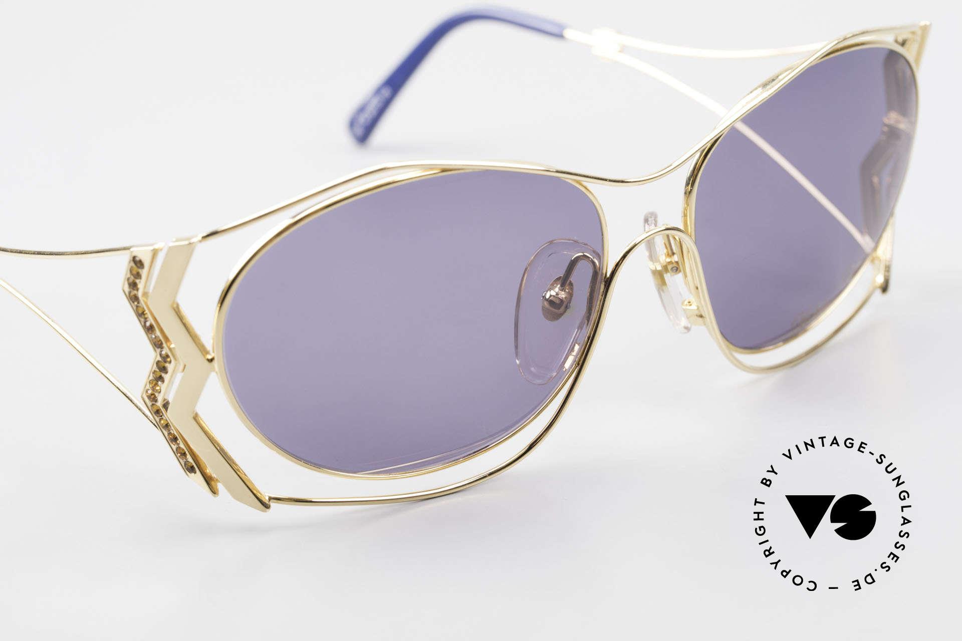 Paloma Picasso 3707 90er Sonnenbrille Vergoldet, KEINE retro Sonnenbrille; ein vintage 90er Original, Passend für Damen
