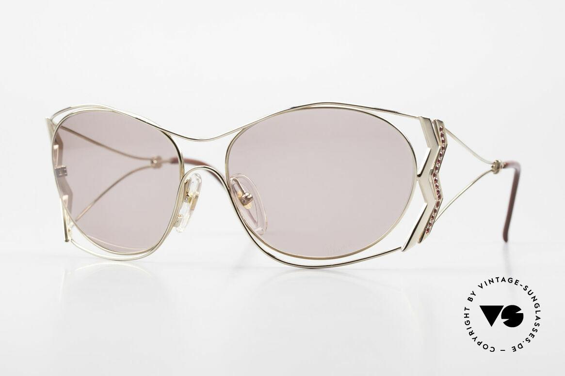 Paloma Picasso 3707 90er Sonnenbrille Mit Strass, echte 90er Sonnenbrille, vergoldet & Siam Strass, Passend für Damen