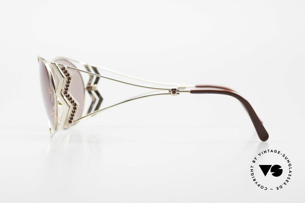 Paloma Picasso 3707 90er Sonnenbrille Mit Strass, filigraner Metallrahmen mit vielen Strasssteinchen, Passend für Damen