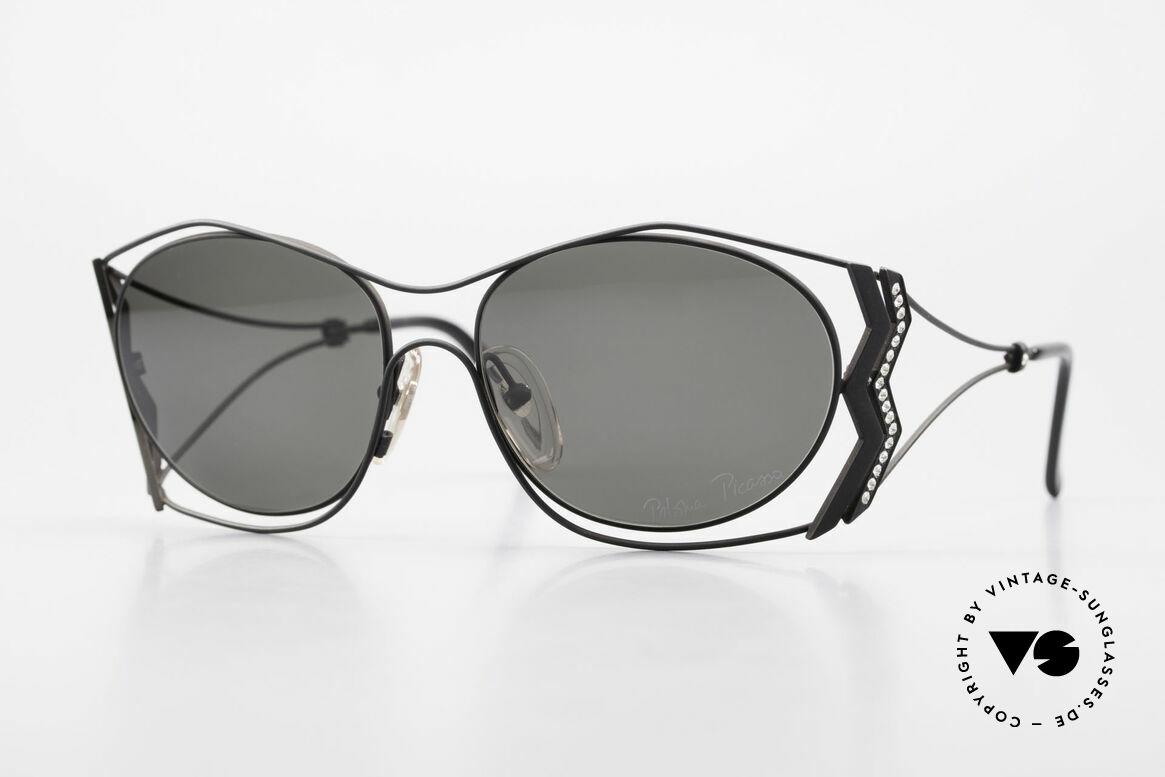 Paloma Picasso 3707 1990er Sonnenbrille Kristall, Picasso vintage Sonnenbrille mit Strass in Kristall, Passend für Damen