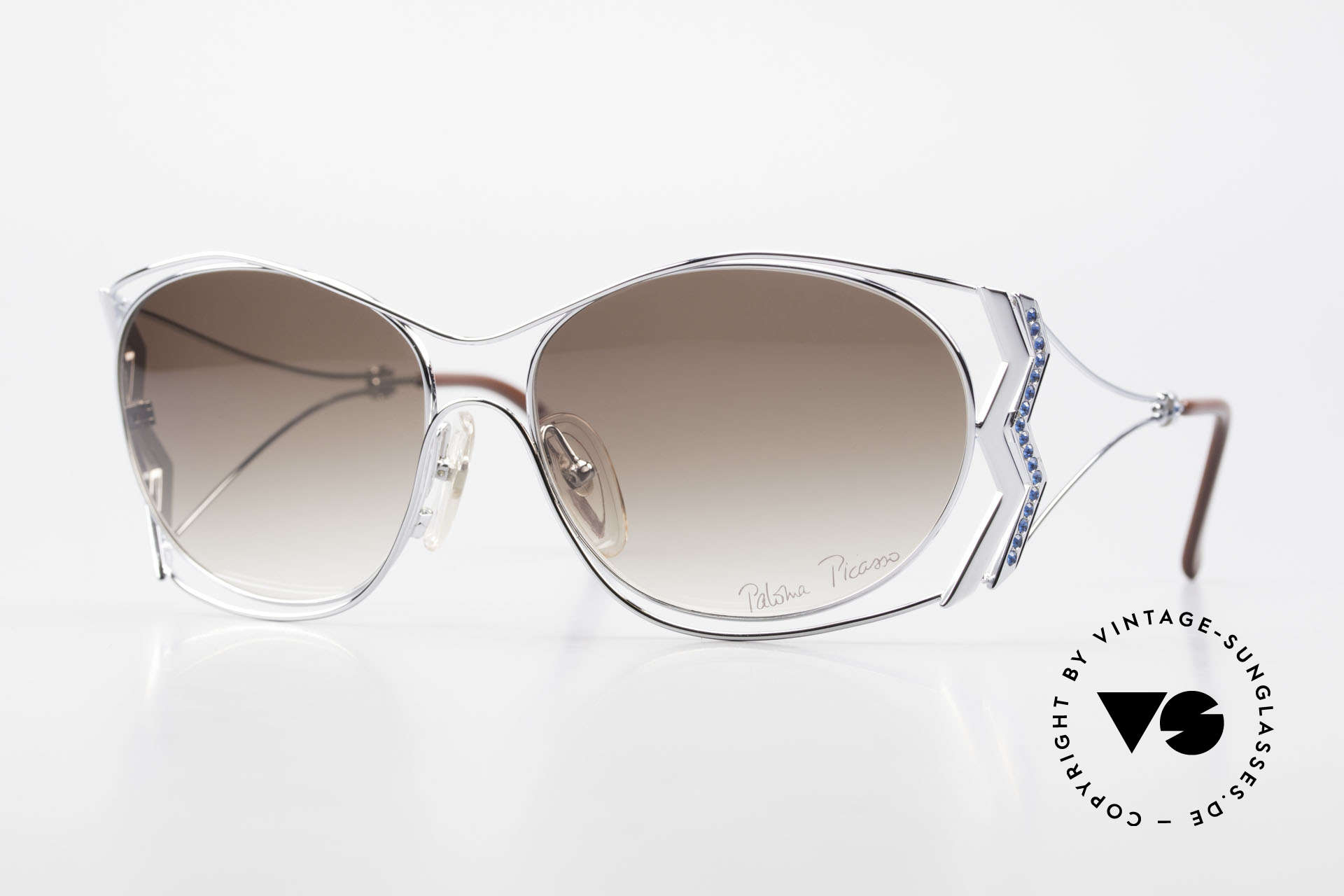 Paloma Picasso 3707 90er Strass-Sonnenbrille Capri, 90er Damen Sonnenbrille, mit Strass in Capri-Blau, Passend für Damen