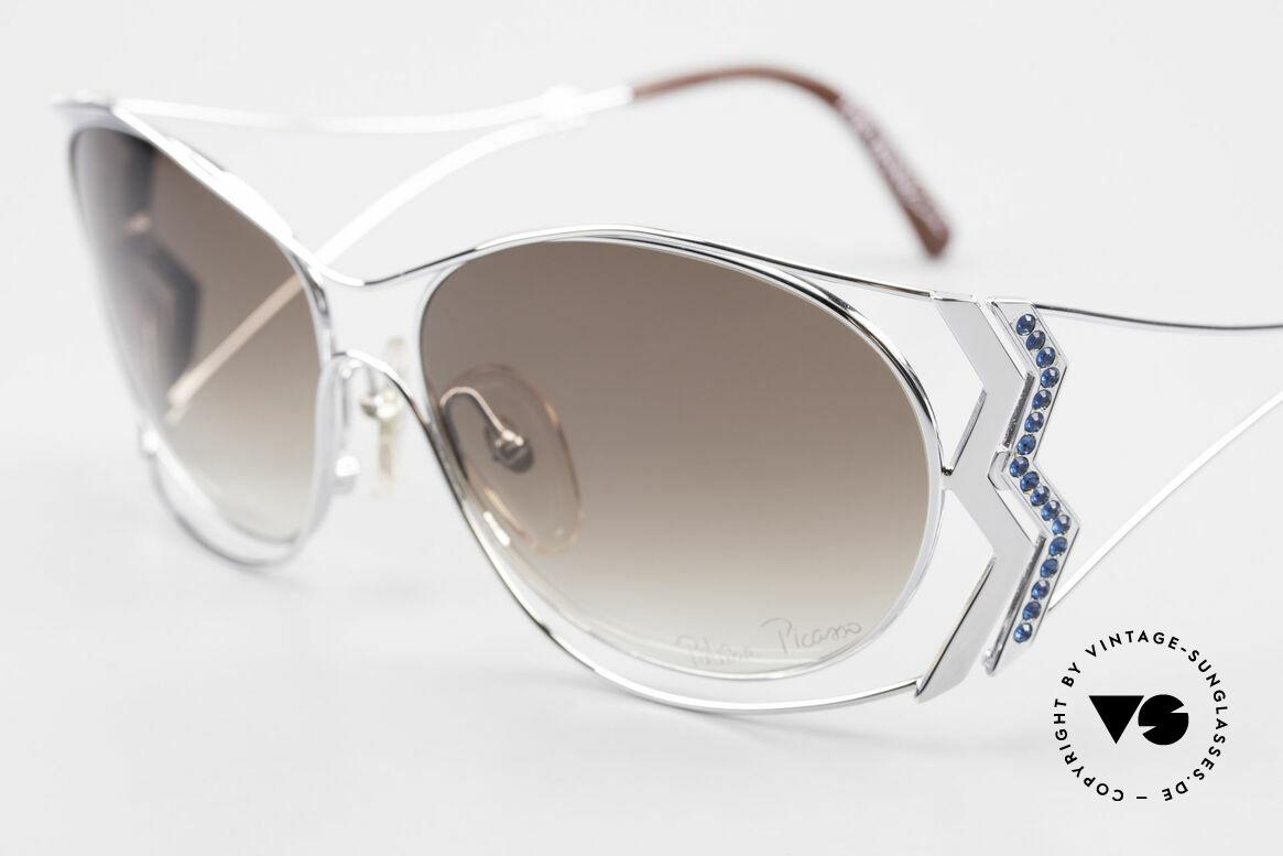 Paloma Picasso 3707 90er Strass-Sonnenbrille Capri, ungetragenes Modell mit original Etui von Picasso, Passend für Damen