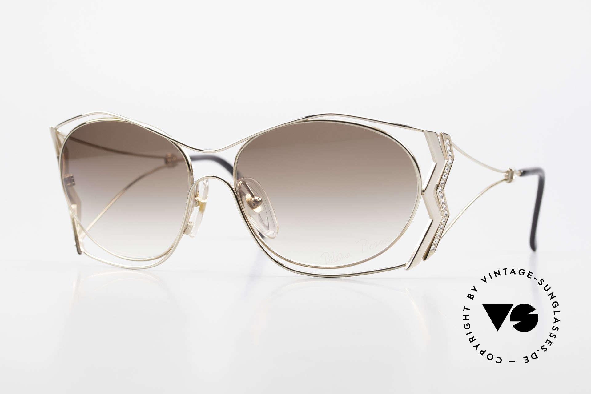 Paloma Picasso 3707 Vergoldete 90er Brille Kristall, 90er Picasso Brille, vergoldet und Kristall-Strass, Passend für Damen