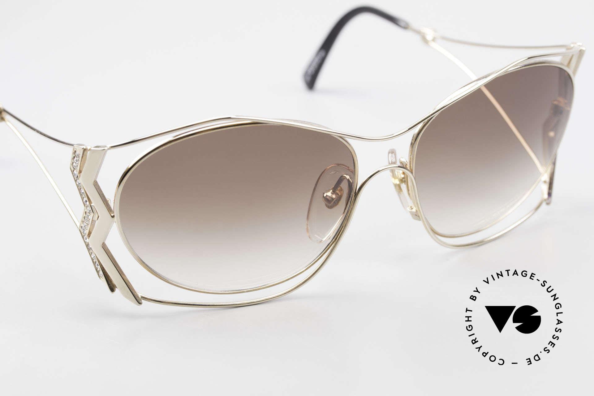 Paloma Picasso 3707 Vergoldete 90er Brille Kristall, KEINE retro Sonnenbrille; ein vintage 90er Original, Passend für Damen