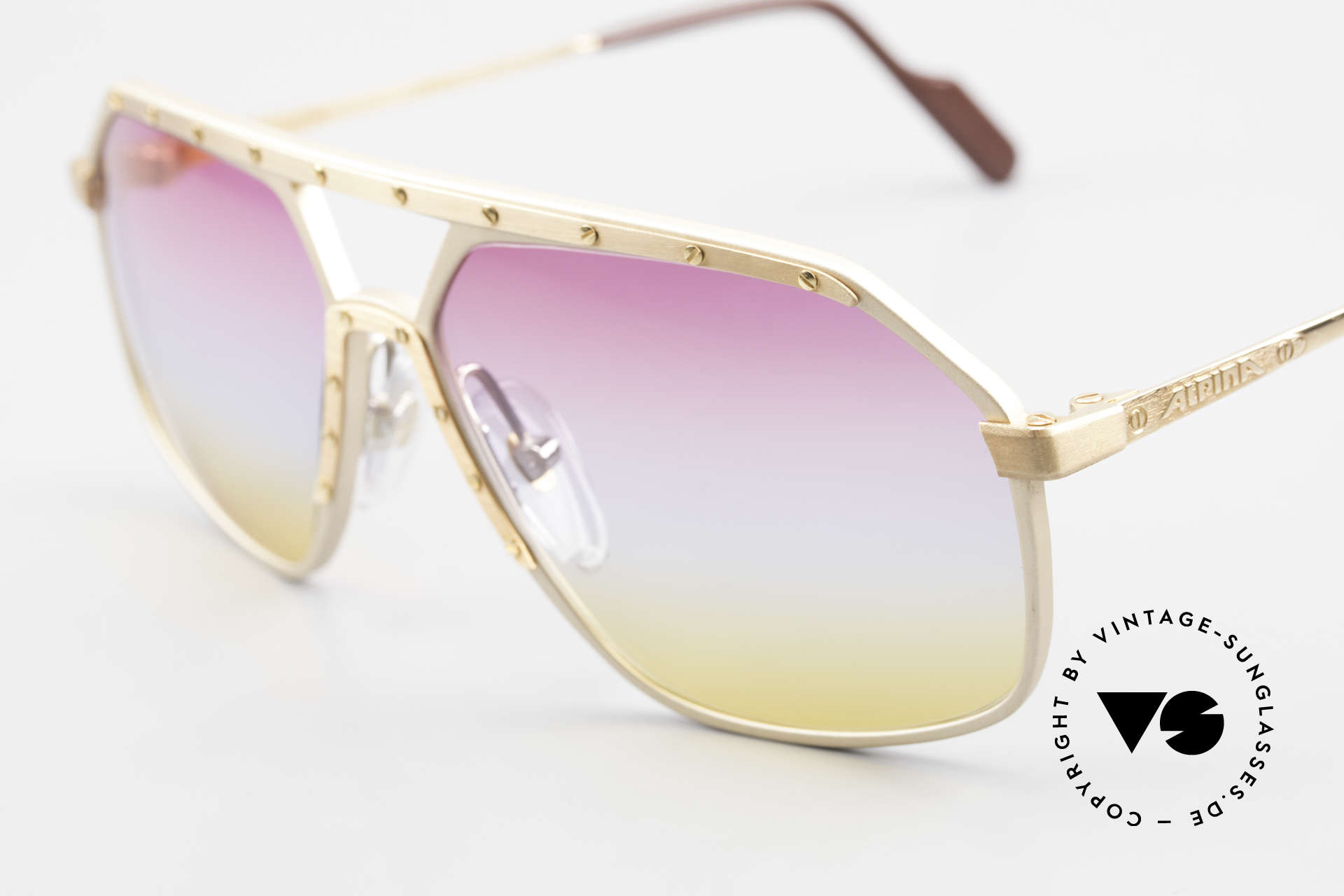 Alpina M6 80er Brillenklassiker Sunset, handgefertigt; entsprechend kostbar und hochwertig, Passend für Herren und Damen