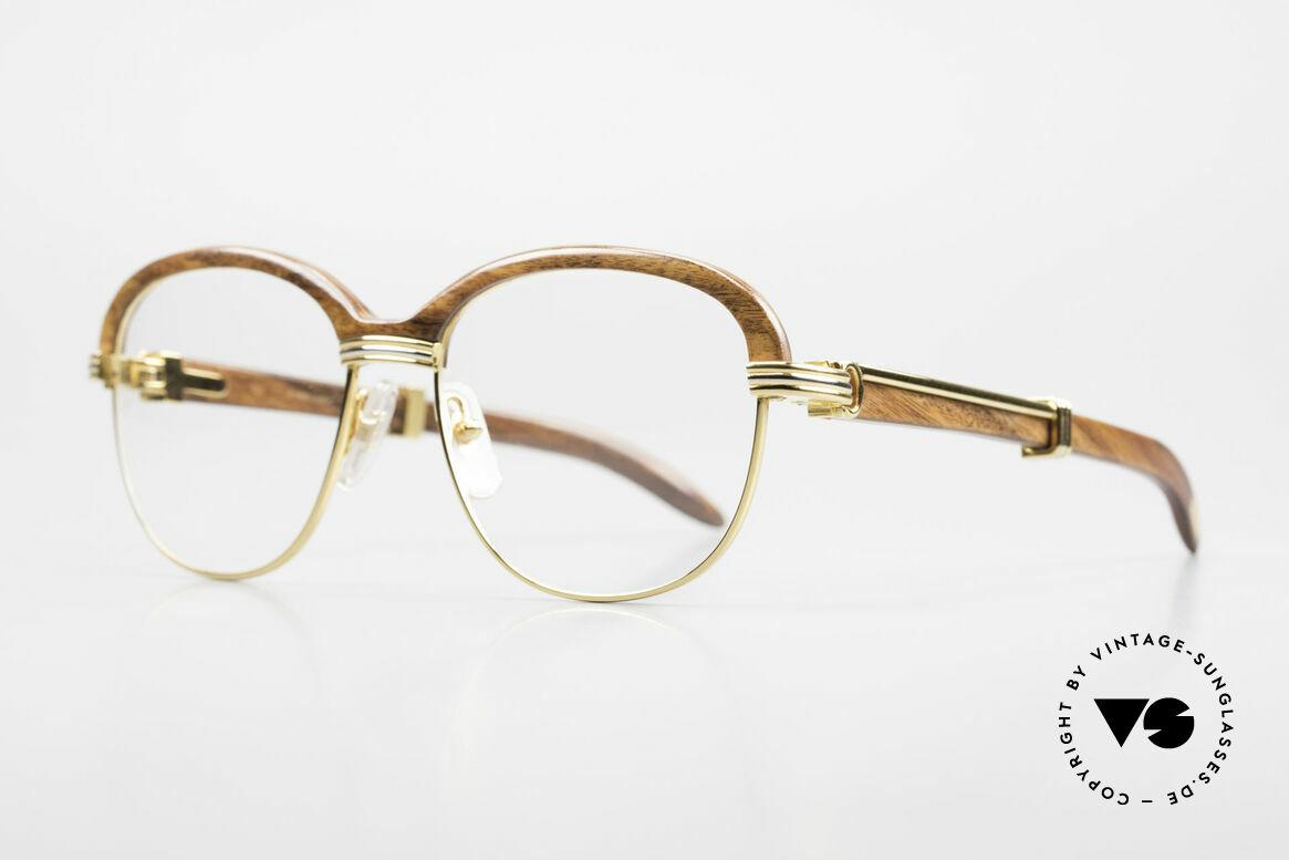 Cartier Malmaison Diego A. Maradona Holzbrille, kostbare 22kt vergoldete Rarität, Gr. 54/17, 130, Passend für Herren und Damen