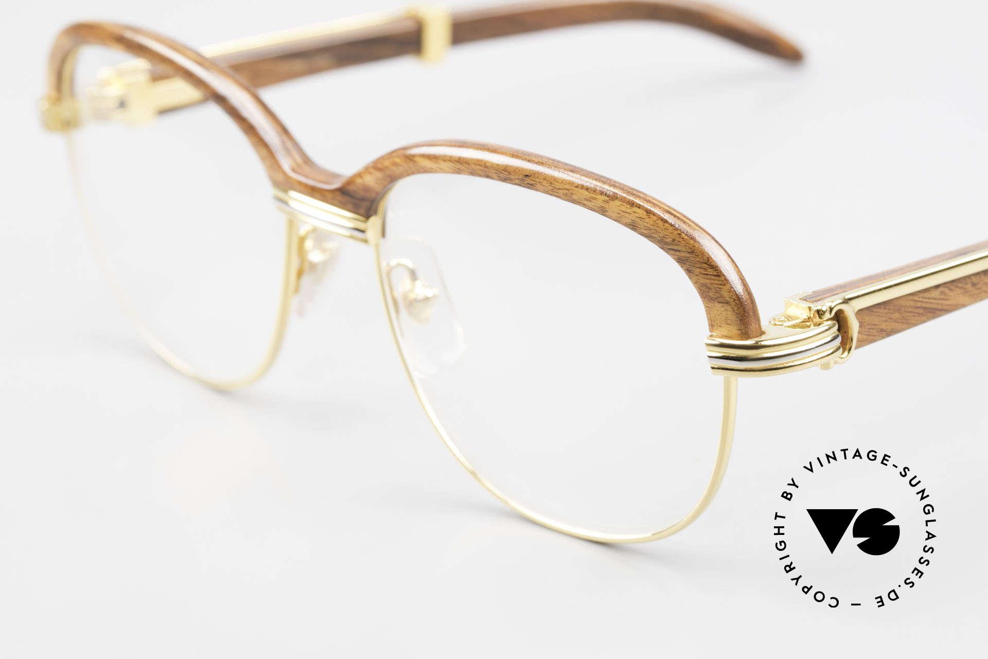 Cartier Malmaison Diego A. Maradona Holzbrille, KEINE Retrobrille, sondern ein Original von 1990, Passend für Herren und Damen