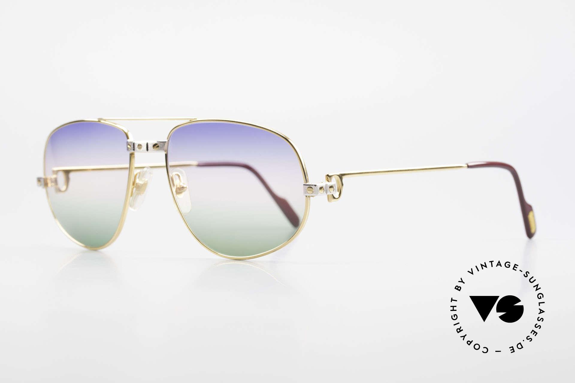 Cartier Romance Santos - L Luxus Vintage Sonnenbrille, dieses Mod. mit SANTOS-Dekor & LARGE Gr. 58-18, 140, Passend für Herren