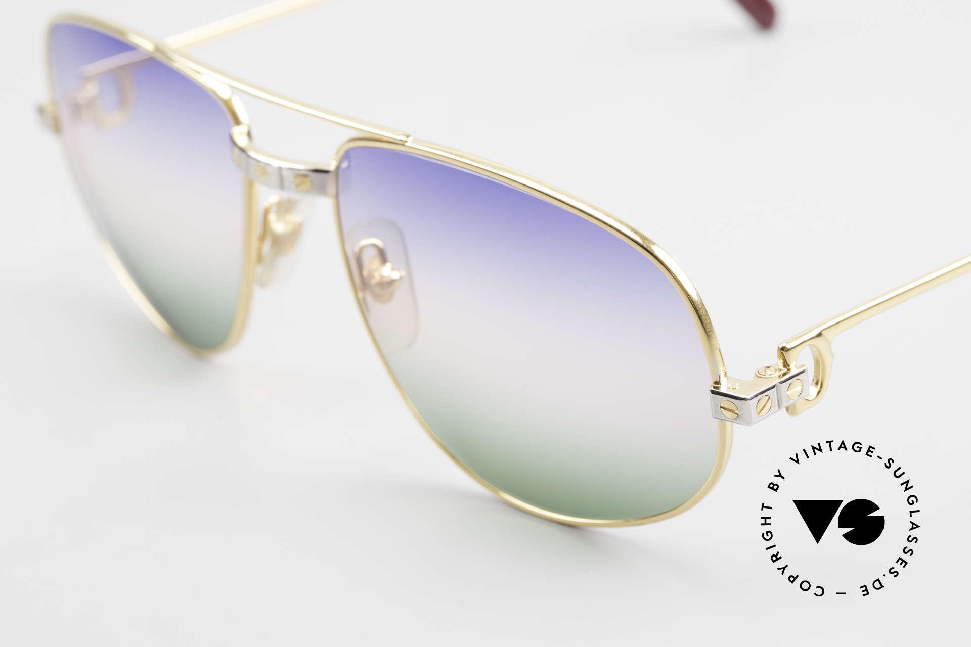 Cartier Romance Santos - L Luxus Vintage Sonnenbrille, 22kt vergoldete Fassung (wie alle alten Cartier Brillen), Passend für Herren