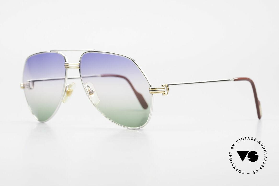 Cartier Vendome LC - M Platin 80er Brille Aviator, dieses Modell mit LC-Dekor in MEDIUM Gr. 59-14, 140, Passend für Herren