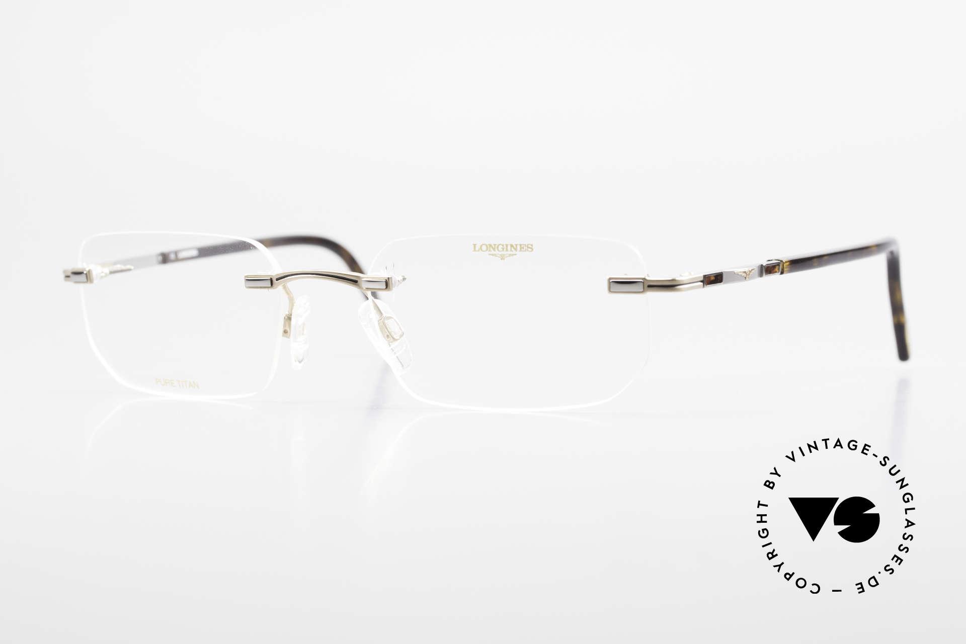 Longines 4238 90er Randlosbrille Pure Titan, randlose 90er Brille v. Longines, Pure Titan Herrenbrille, Passend für Herren