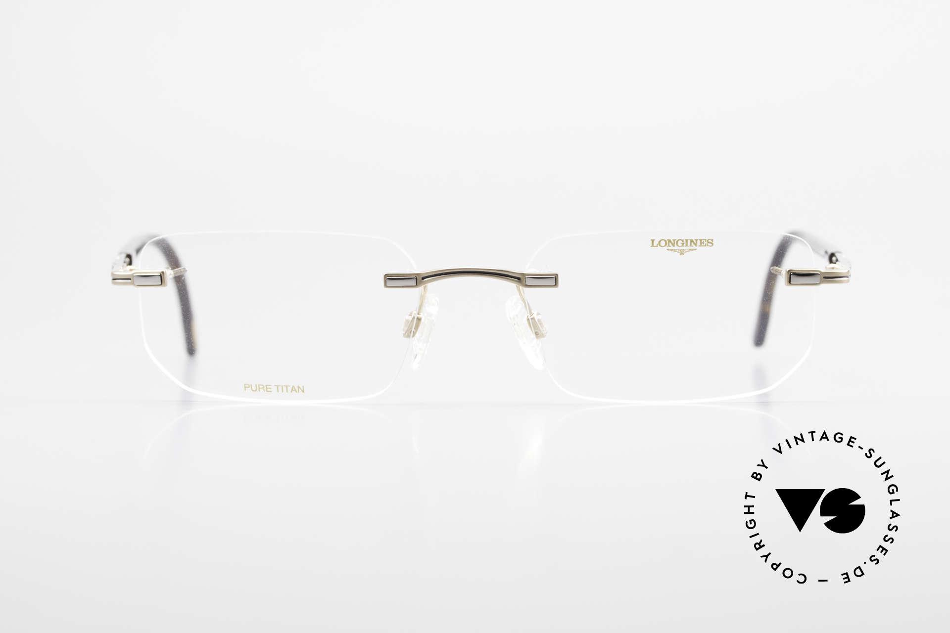 Longines 4238 90er Randlosbrille Pure Titan, komplette Fassung mit vielen kleinen Qualitäts-Details, Passend für Herren
