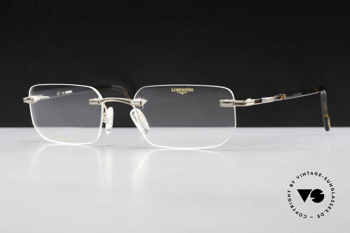 Longines 4238 90er Randlosbrille Pure Titan, die geflügelte Sanduhr als Longines-Logo auf den Bügeln, Passend für Herren