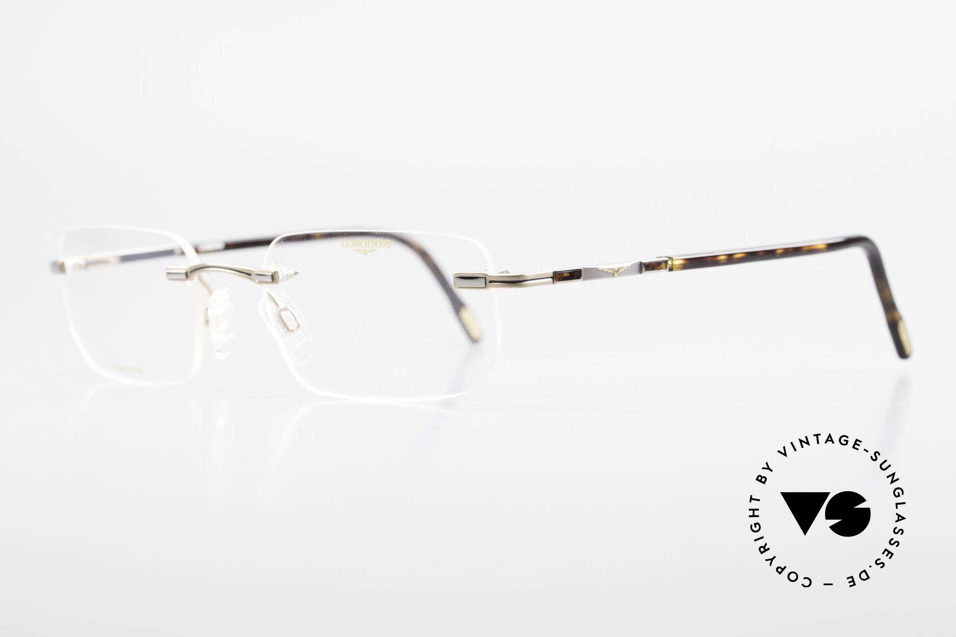 Longines 4238 90er Randlosbrille Pure Titan, ein zeitloses altes Original in titan/gold und schildpatt, Passend für Herren