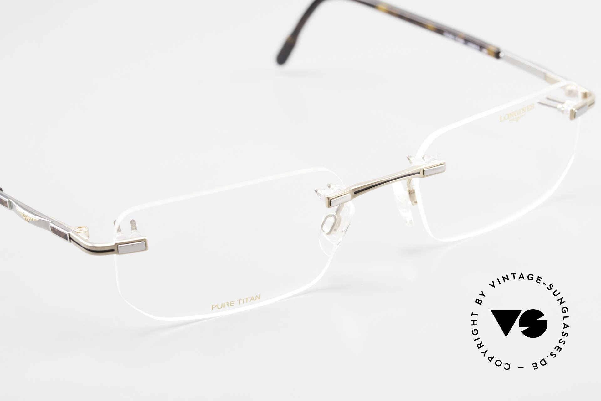 Longines 4238 90er Randlosbrille Pure Titan, die orig. DEMOgläser können beliebig getauscht werden, Passend für Herren