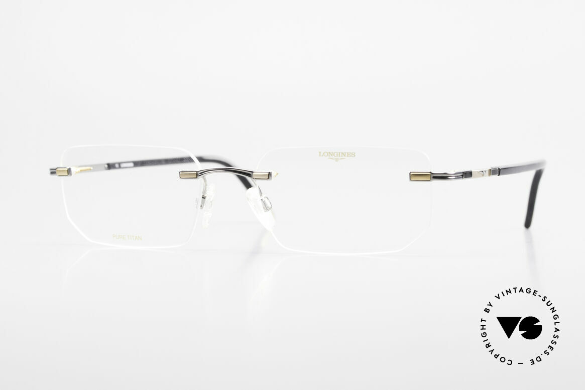Longines 4238 Randlose 90er Brille Herren, randlose 90er Brille v. Longines, Pure Titan Herrenbrille, Passend für Herren