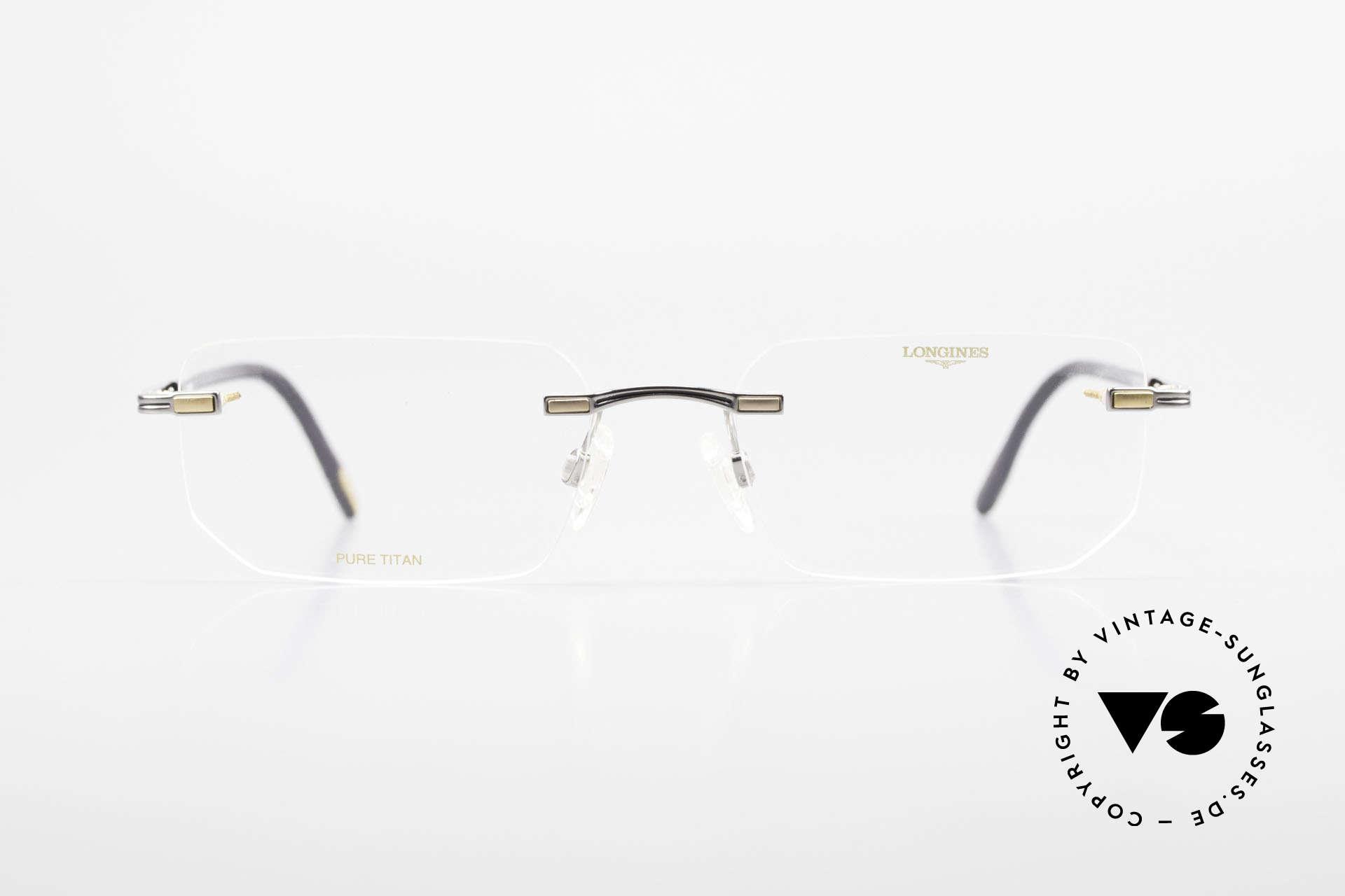 Longines 4238 Randlose 90er Brille Herren, komplette Fassung mit vielen kleinen Qualitäts-Details, Passend für Herren