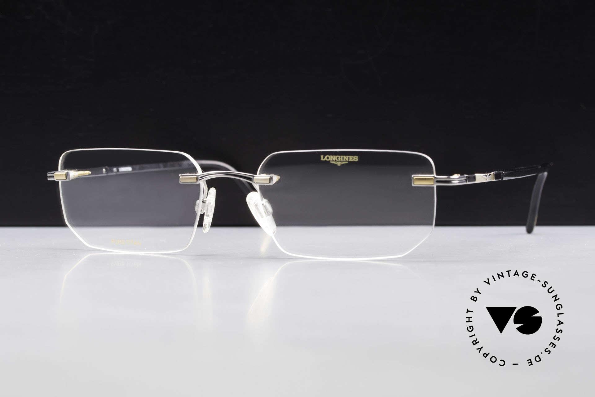 Longines 4238 Randlose 90er Brille Herren, die geflügelte Sanduhr als Longines-Logo auf den Bügeln, Passend für Herren