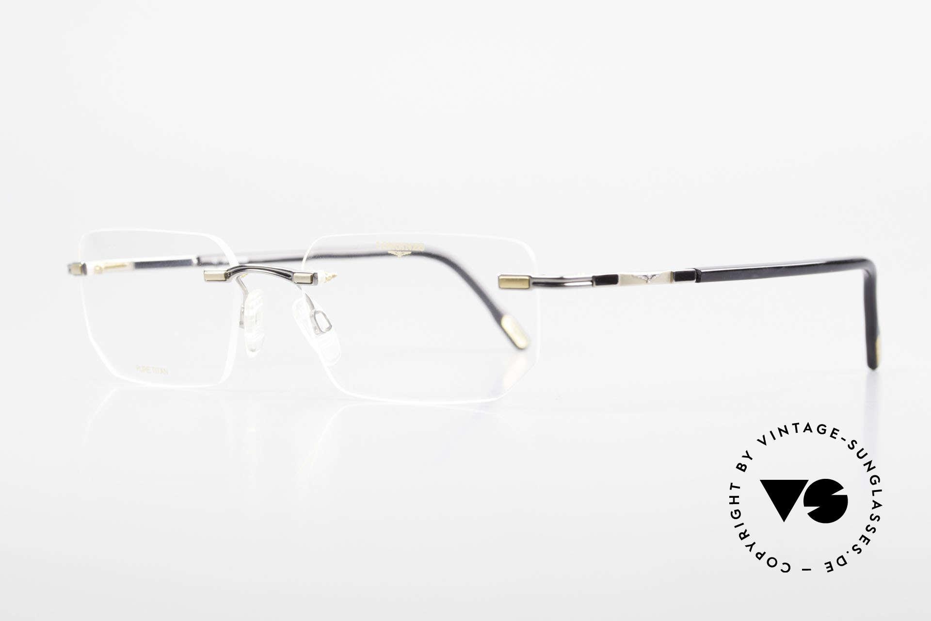 Longines 4238 Randlose 90er Brille Herren, ein zeitloses altes Original in titan/gold & grau-marmor, Passend für Herren