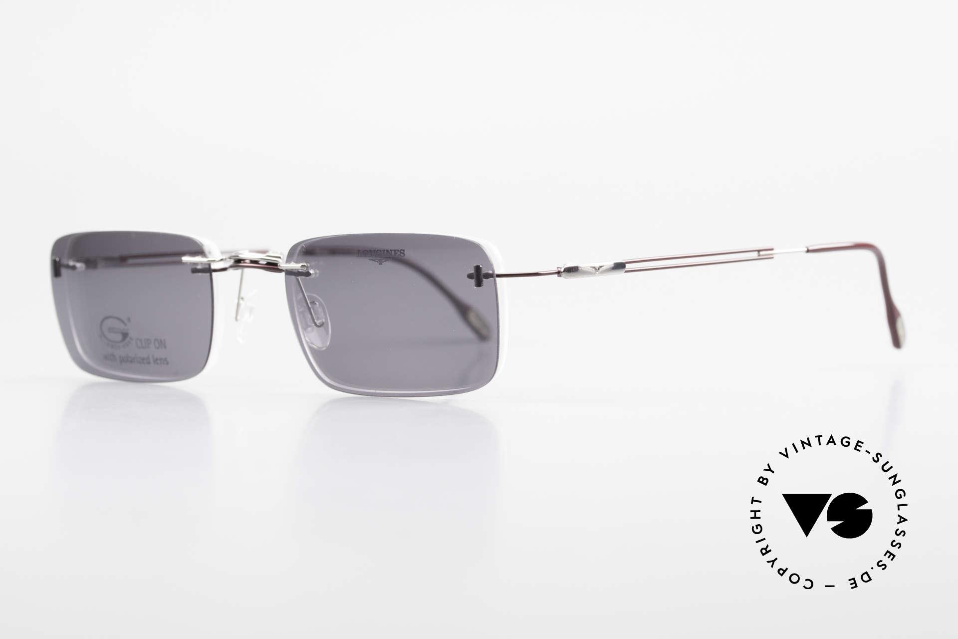 Longines 4367 Randlosbrille Polarisierend, Sonnen-Clip mit POLARisierenden Gläsern (100% UV), Passend für Herren