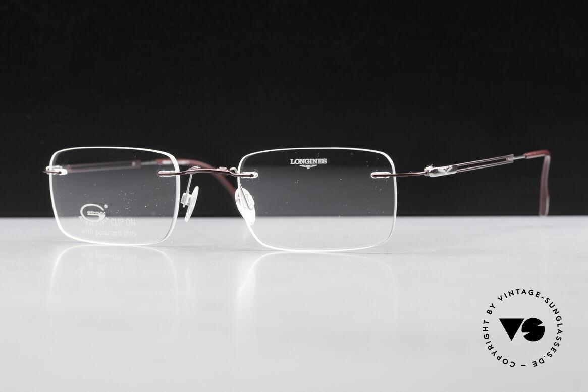 Longines 4367 Randlosbrille Polarisierend, die geflügelte Sanduhr als Longines-Logo auf den Bügeln, Passend für Herren
