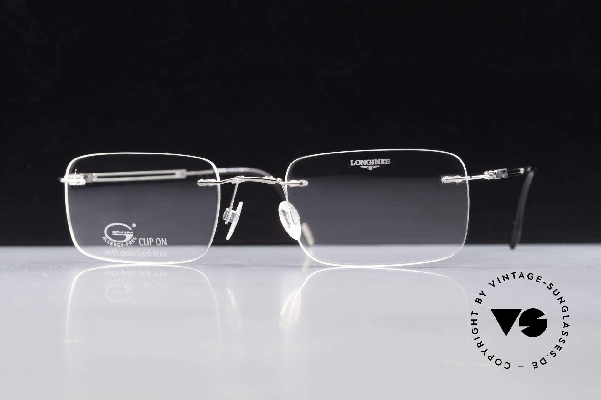 Longines 4367 Randlose Brille Polarisierend, Sonnen-Clip mit POLARisierenden Gläsern (100% UV), Passend für Herren