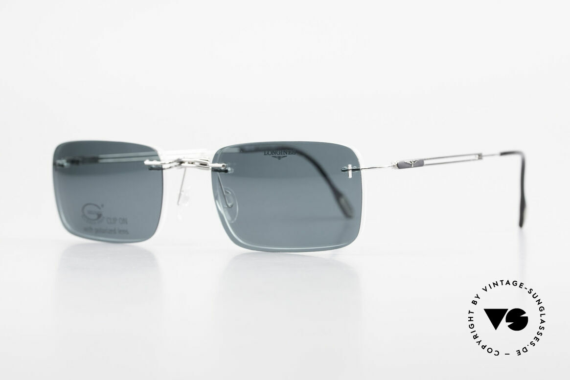 Longines 4367 Randlose Brille Polarisierend, die geflügelte Sanduhr als Longines-Logo auf den Bügeln, Passend für Herren