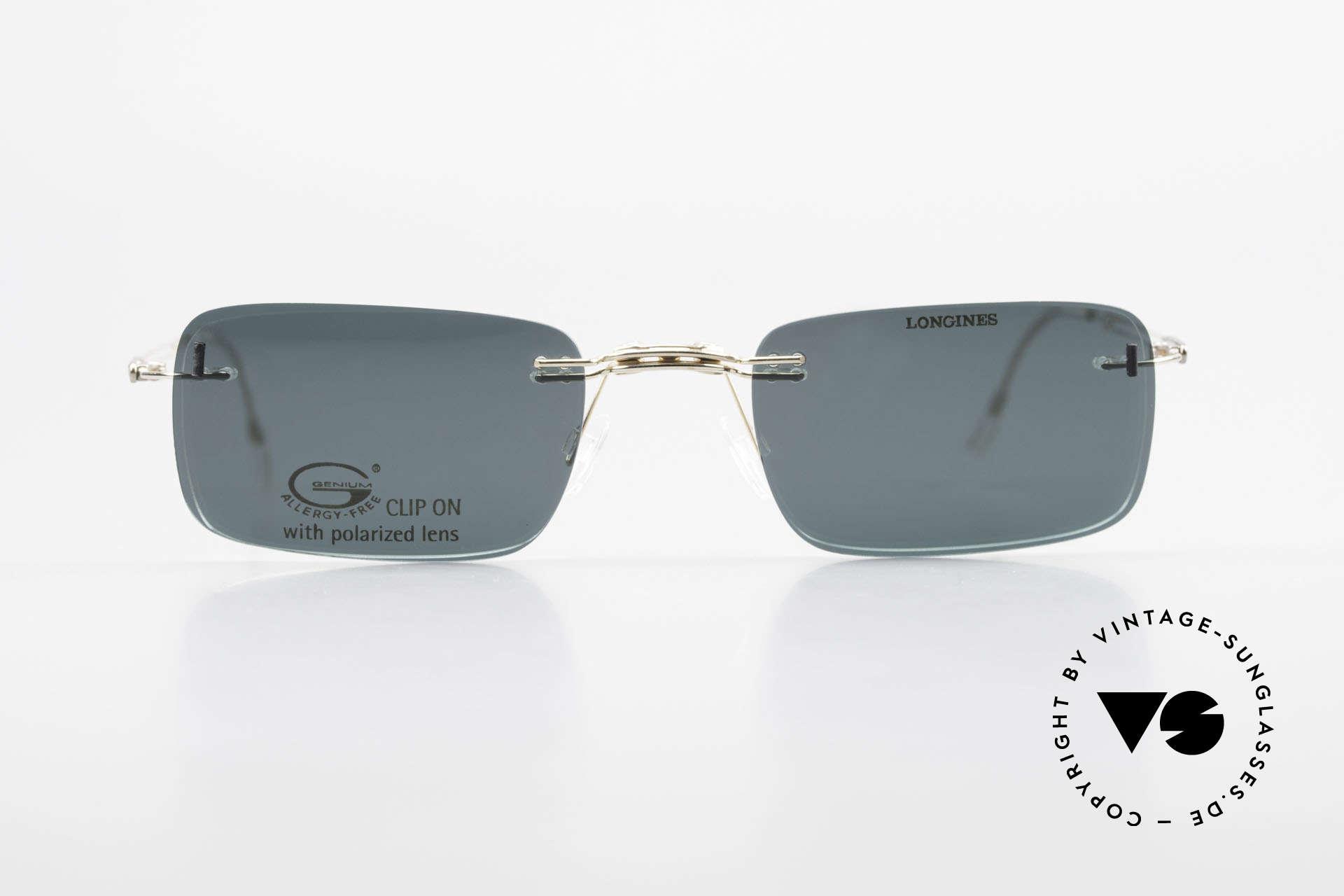 Longines 4367 Polarisierende Brille Randlos, allergiefreie, randlose 90er Jahre Brille von Longines, Passend für Herren