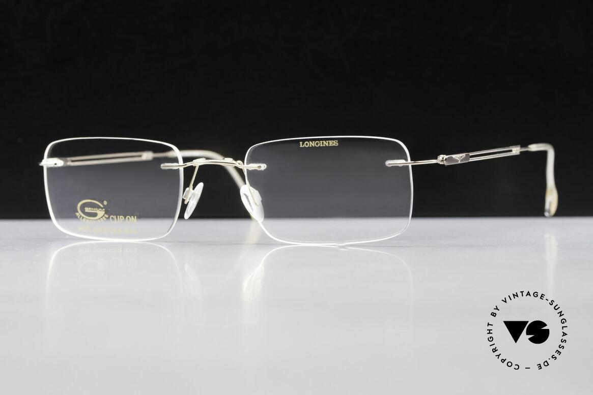Longines 4367 Polarisierende Brille Randlos, Sonnen-Clip mit POLARisierenden Gläsern (100% UV), Passend für Herren