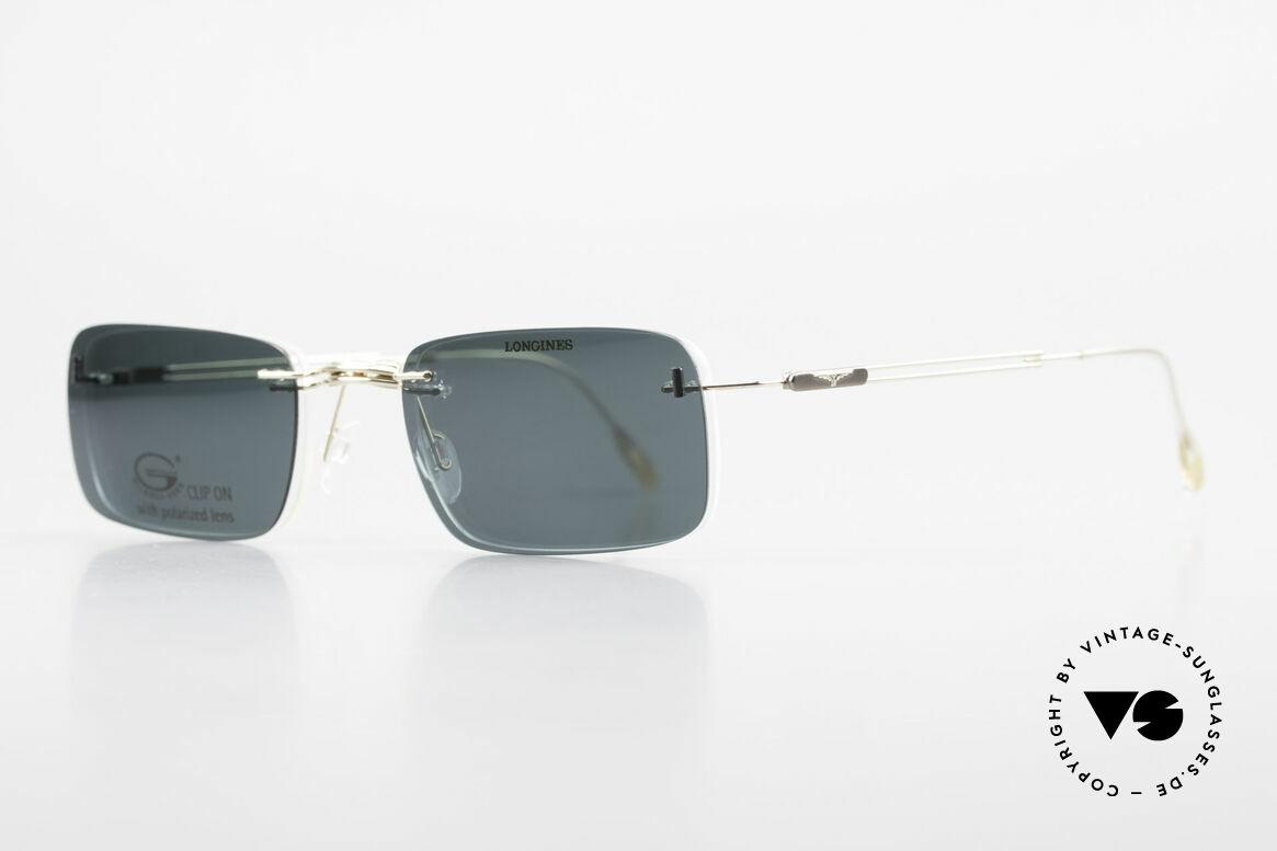 Longines 4367 Polarisierende Brille Randlos, die geflügelte Sanduhr als Longines-Logo auf den Bügeln, Passend für Herren