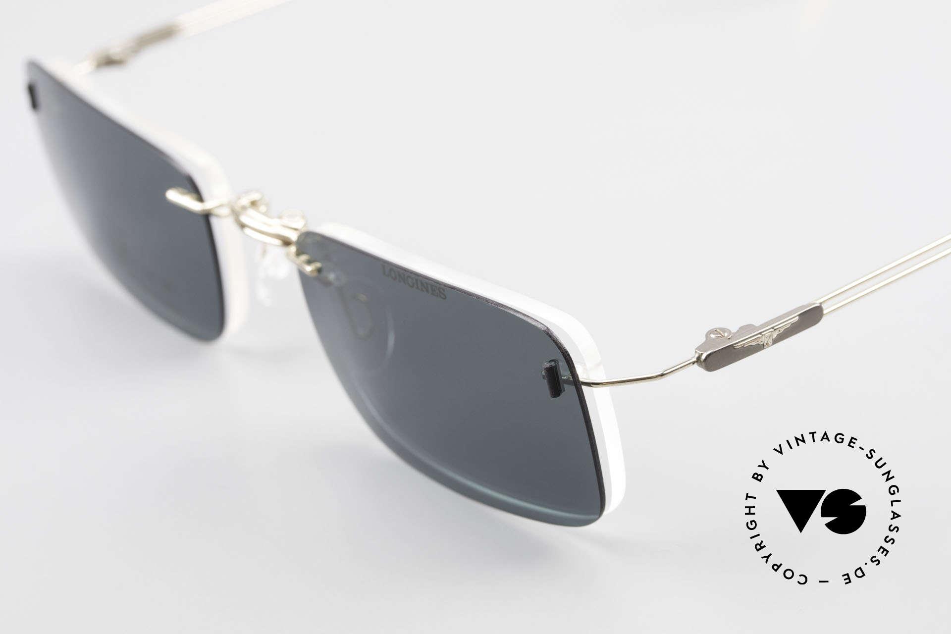 Longines 4367 Polarisierende Brille Randlos, Fassung kann natürlich beliebig optisch verglast werden, Passend für Herren