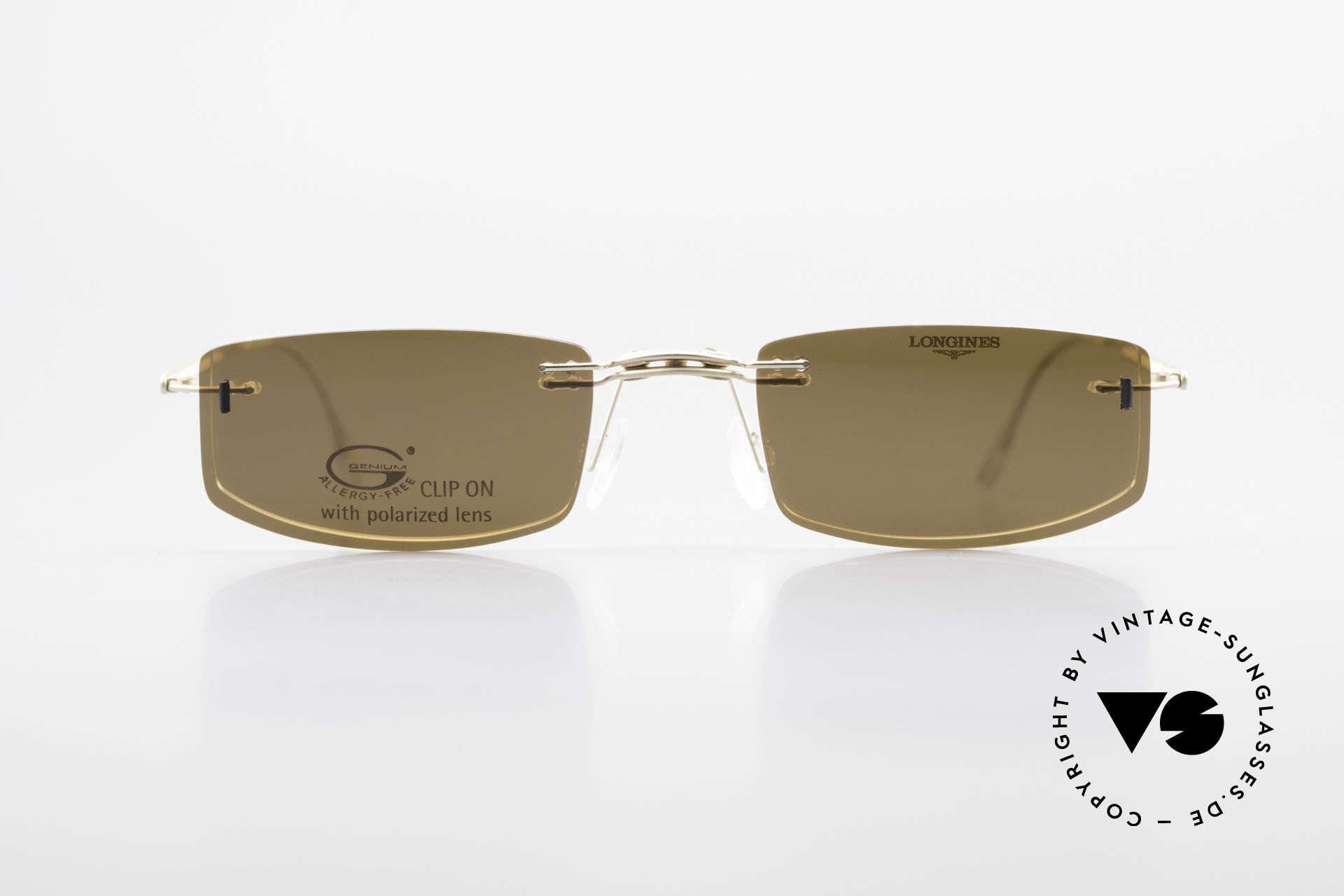 Longines 4378 Polarisierende Randlosbrille, allergiefreie, randlose 90er Jahre Brille von Longines, Passend für Herren und Damen